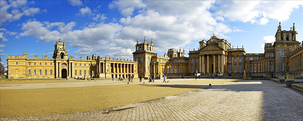 Panoramic of the Great Court of Blenheim Palace, UNESCO World Heritage Site, Woodstock, Oxfordshire, England, United Kingdom, Europe
