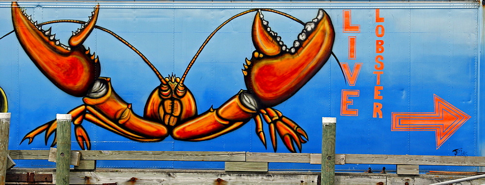 Live lobster sign, Port Clyde, fishing village, Maine, New England, USA