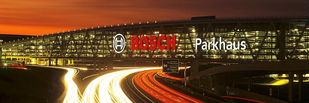 Trade fair car park at Stuttgart Airport on the A8 autobahn, Stuttgart, Baden-Wuerttemberg, Germany, Europe