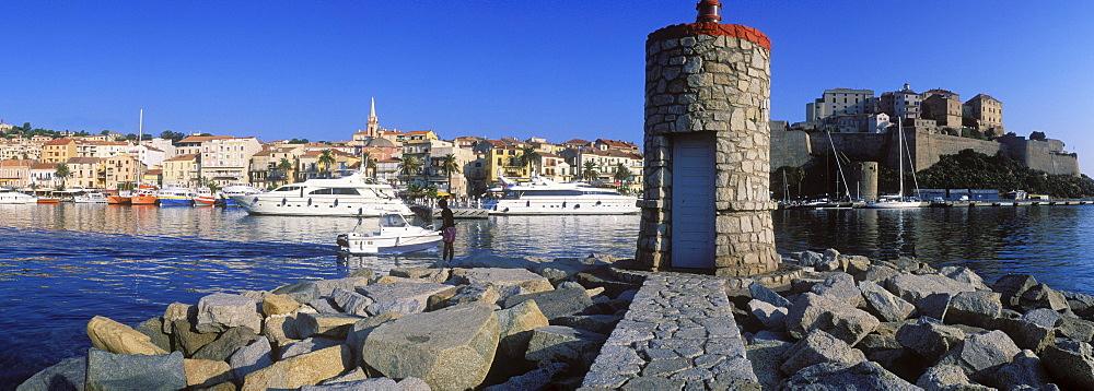 Port and citadel of Calvi, Balagne, Corsica, France, Europe