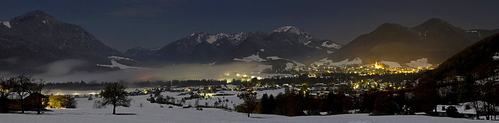 Ruhpolding at night in winter, Chiemgau Alps, Upper Bavaria, Germany, Europe