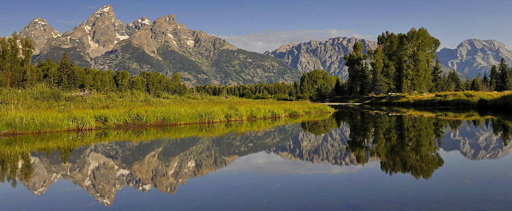 Panorama, Snake River, Schwabacher Landing, in front of the Teton Range mountain range, Grand Teton National Park, Wyoming, United States of America, USA