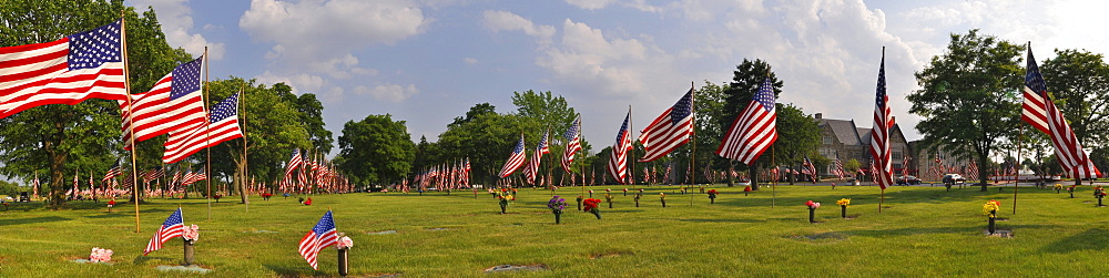 U.S. flags at a cemetery on Memorial Day, Milwaukee, Wisconsin, USA, America