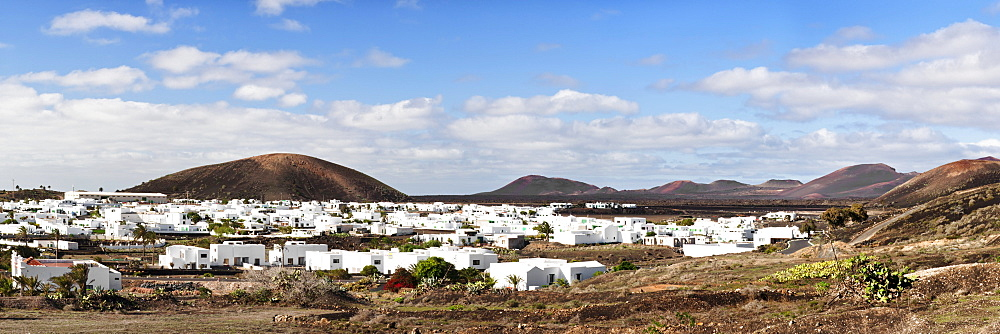 Uga in the middle of a volcanic landscape, Lanzarote, Canary Islands, Spain, Europe