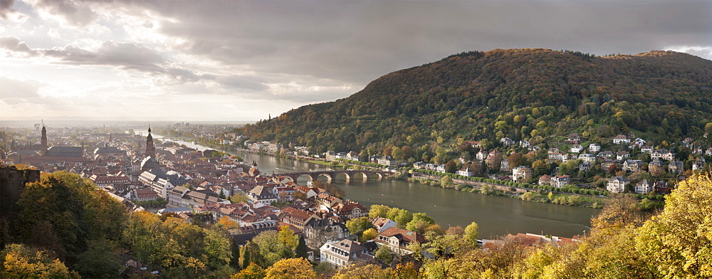 Panoramic views from the castle overlooking the historic town of Heidelberg, Baden-Wuerttemberg, Germany, Europe
