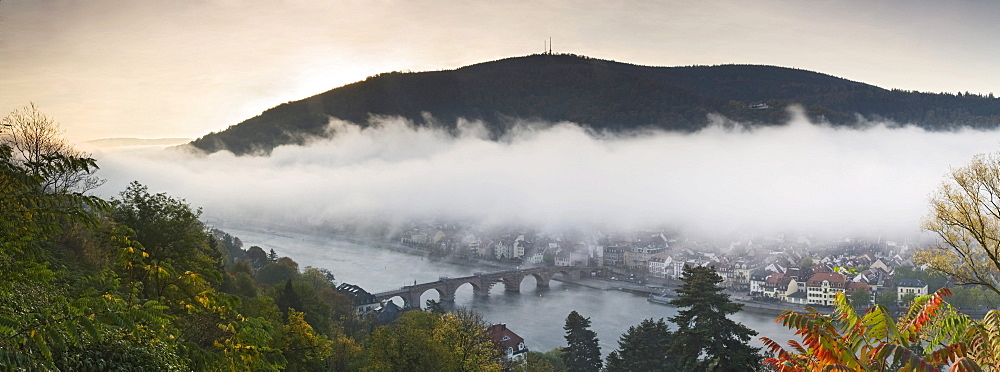 Heidelberg on the Neckar river with Karl-Theodor-Bruecke bridge, and the old town on a misty autumn morning, Baden-Wuerttemberg, Germany, Europe