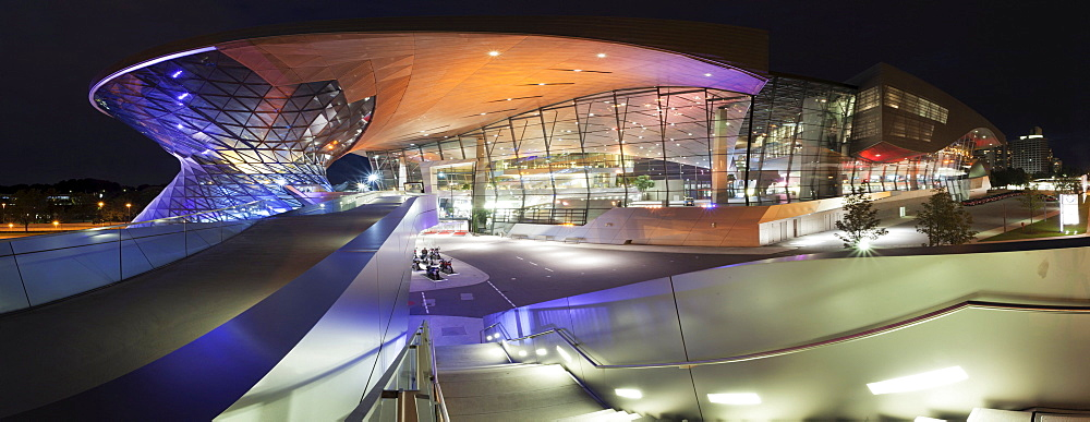 BMW Welt, a multi-functional customer experience and exhibition facility of the BMW AG, on Mittlerer Ring motorway, near the Olympiazentrum, Munich, Upper Bavaria, Bavaria, Germany, Europe