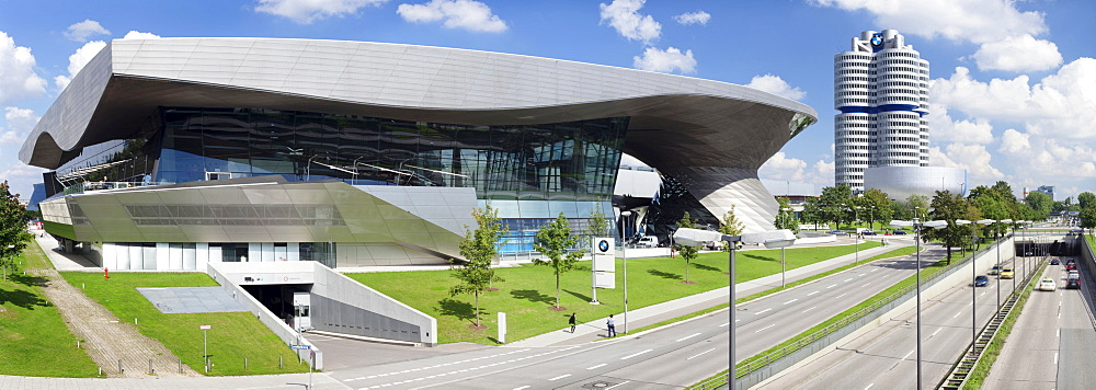 BMW Welt with the BMW Museum on Mittleren Ring, the central ring road near the Olympic Centre, Munich, Upper Bavaria, Bavaria, Germany, Europe