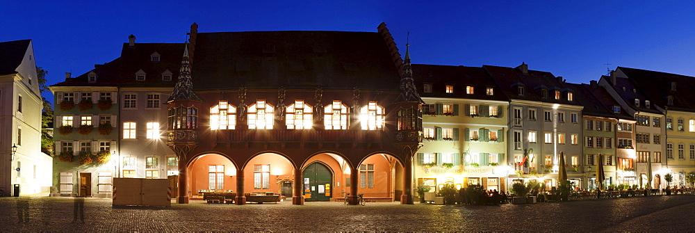 Row of buildings with historic department store on Muensterplatz square, Freiburg im Breisgau, Baden-Wuerttemberg, Germany, Europe