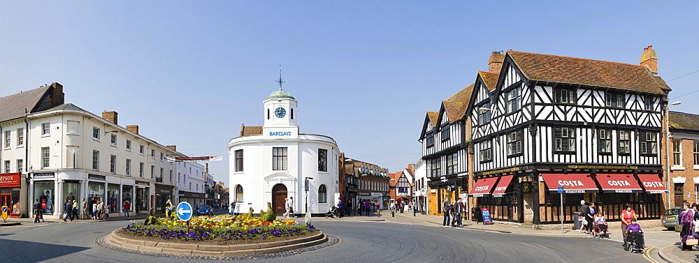 Panorama of Barclays Bank building, market cross, traditional house selling coffee, Bridge Street, Stratford upon Avon, Warwickshire, England, United Kingdom, Europe