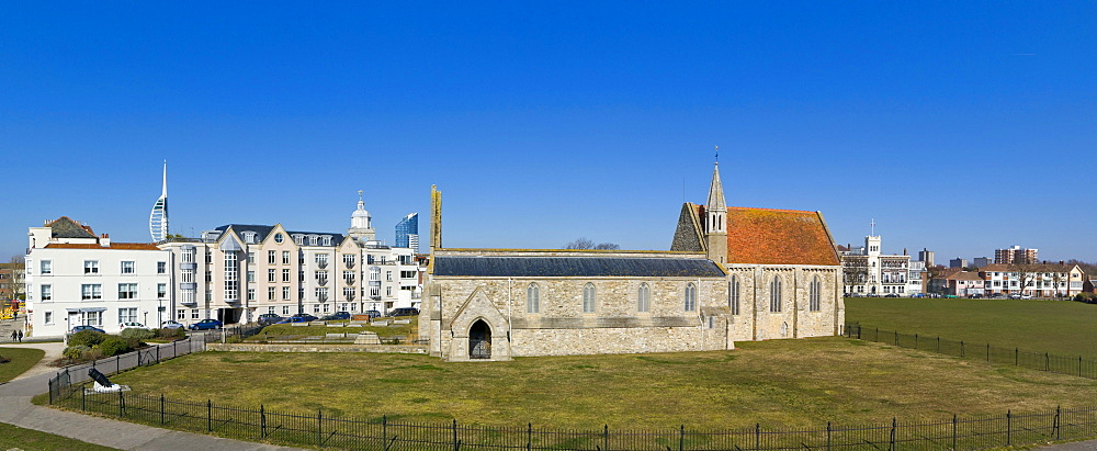 Panorama of Portsmouth with Royal Garrison Church, Domus Dei, Spinnaker Tower from King's Bastion, Old Portsmouth, Hampshire, England, United Kingdom, Europe