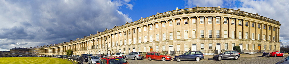 Panorama of Royal Crescent by John Wood The Younger, Bath, Somerset, England, United Kingdom, Europe