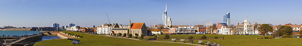Panorama of Portsmouth with Royal Garrison Church, Domus Dei, Spinnaker Tower, King's Bastion moat and Waterfront Millennium Promenade from King's Bastion, Old Portsmouth, Hampshire, England, United Kingdom, Europe