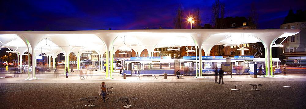 MVV Muenchner Freiheit bus station in the evening, Munich, Bavaria, Germany, Europe