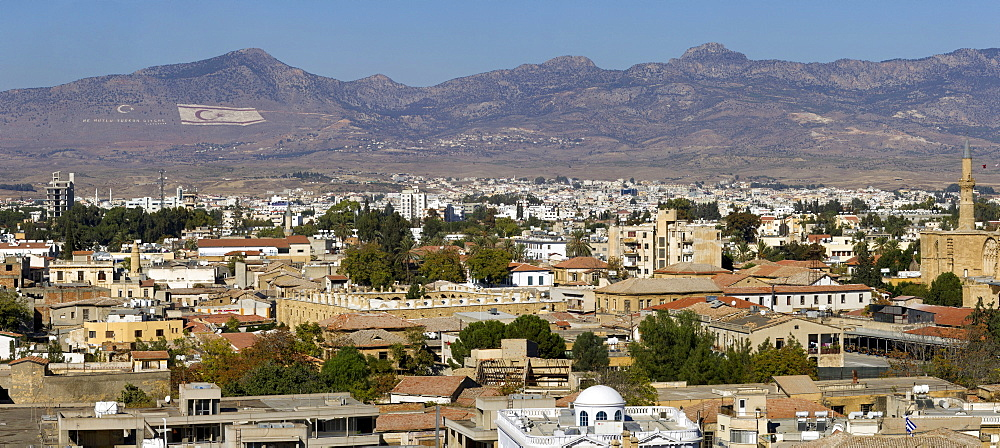 View over North Nicosia, also Lefkosa or Lefkosia, the capital of Northern Cyprus, Turkish Cyprus, South Eastern Europe, Europe
