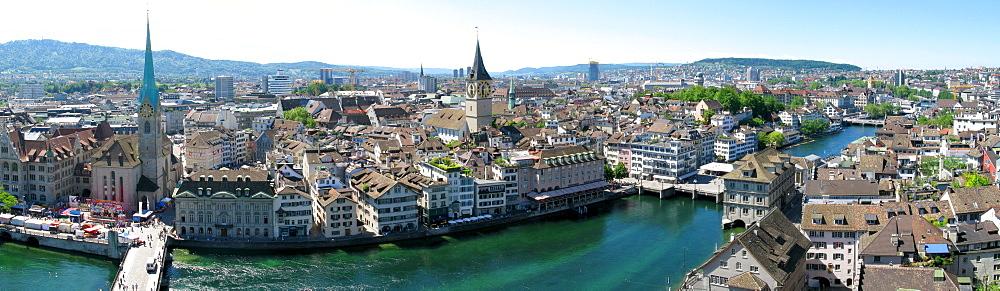 Panoramic view of Zurich on the Limmat river, Zurich, Switzerland, Europe