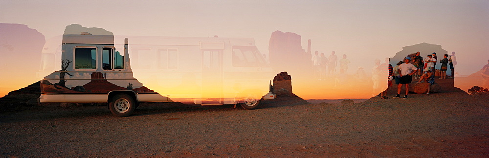 Panorama, camper, Monument Valley, USA