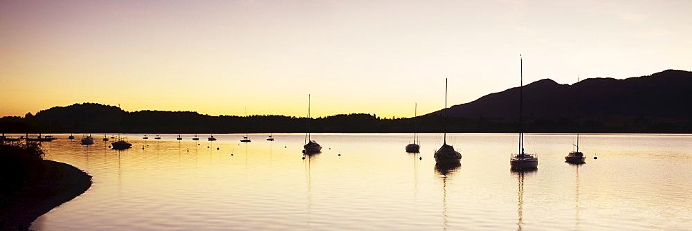 Sunrise at Ostereinen on Forggensee lake, Ostallgaeu district, Bavaria, Germany, Europe