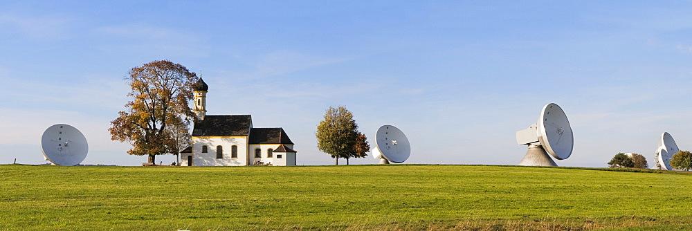 The Erdfunkstelle Raisting, a facility for satellite communication near Raisting, and Saint John's Chapel, Upper Bavaria, Germany, Europe,