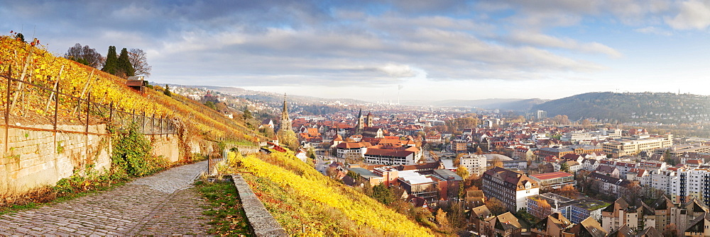 View from a ridge walk towards Esslingen in autumn, Esslingen am Neckar, Baden-Wuerttemberg, Germany, Europe - 832-147652