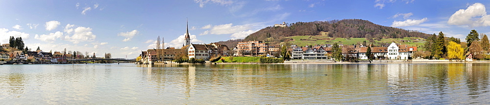 Panoramic view over the Rhine on the old town of Stein am Rhein, Canton Schaffhausen, Switzerland, Europe