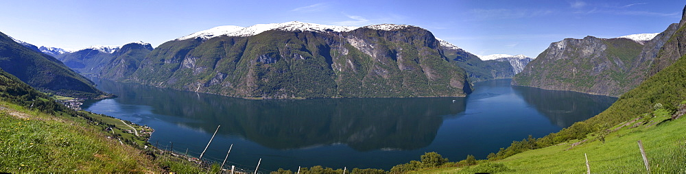 The panoramic view of the Aurlandsfjord with the towns of Flam and Aurland, Norway, Scandinavia, Europe