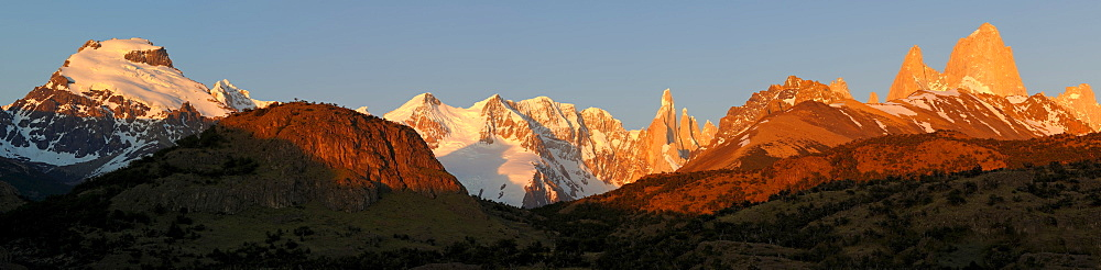 Mt. Cerro Torre and Mt. Fitz Roy in the morning light, El Chalten, Andes, Patagonia, Argentina, South America