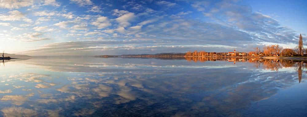 Water reflection on Lake Constance on Reichenau island, Baden-Wuerttemberg, Germany, Europe