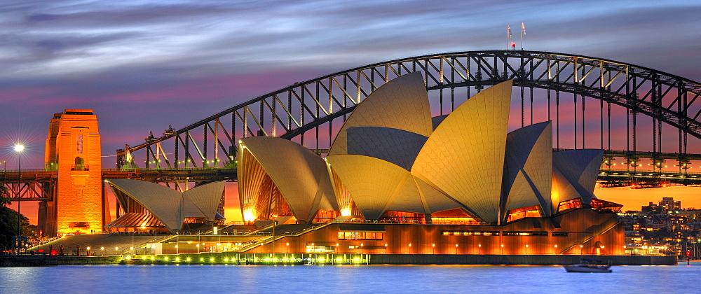 Panorama of the Sydney Opera House, Sydney Harbor Bridge, night, Sydney, New South Wales, Australia