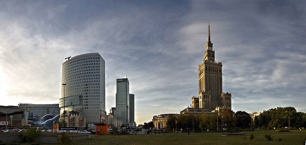 Skyscrapers and Culture Palace, Palac Kultury, in the center of Warsaw, Poland, Europe
