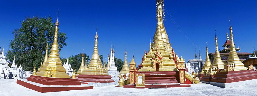 Golden stupas, Nigyon Taungyon Kyaung temple, Shan Monastery, Inle Lake, Nyaungshwe, Shan State, Burma, Myanmar, Asia