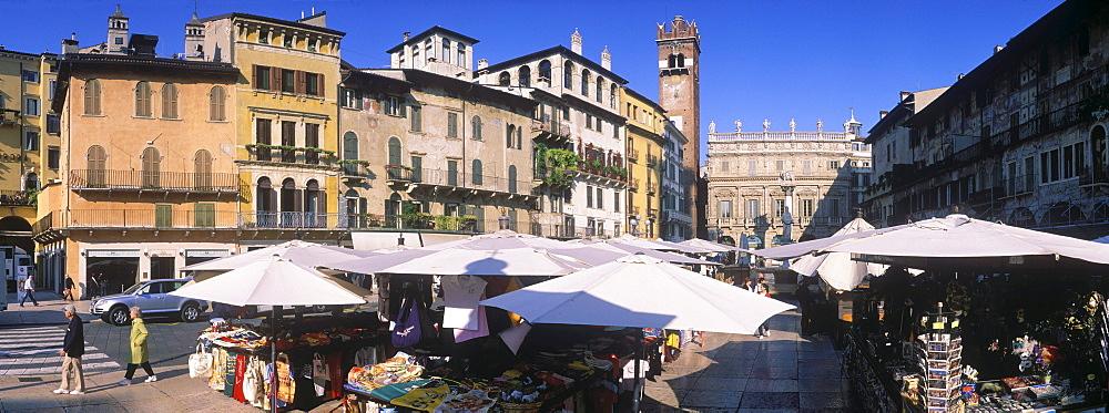 Market, Piazza delle Erbe, Verona, Italy, Europe