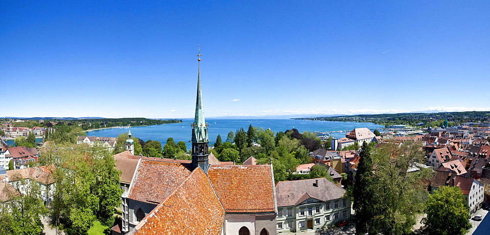 Overlooking the historic centre of Konstanz, Lake Constance at back, Baden-Wuerttemberg, Germany, Europe