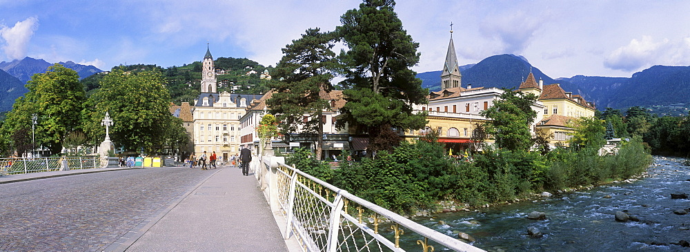 Art Nouveau bridge over Passer River, Merano, Trentino, Alto Adige, Italy, Europe