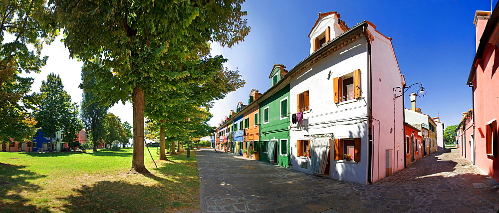 Panoramic view of the city with colorfully painted houses of Burano, Venice, Italy, Europe