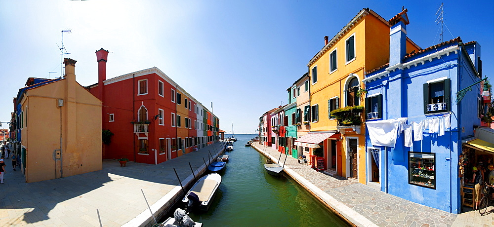 Panoramic view of the city with colorfully painted houses and canals of Burano, Venice, Italy, Europe