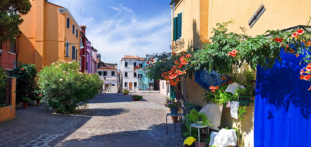 Panoramic view of the city and the colorfully painted houses of Burano, Venice, Italy, Europe