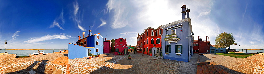 360 degree panoramic view of the city and the colorfully painted houses of Burano, Venice, Italy, Europe