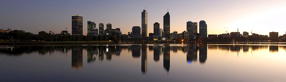 Skyline of Perth before sunrise, Perth, Western Australia