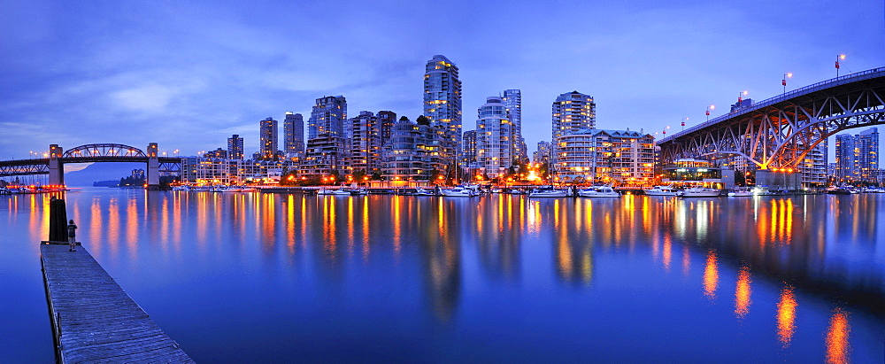 Skyline of Vancouver Down town, evening light, False Creek, British Columbia, Granville Street Bridge, Canada, North America