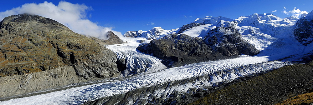 Meeting point of Pers and Morteratsch glaciers and Bernina Range, Grisons, Switzerland