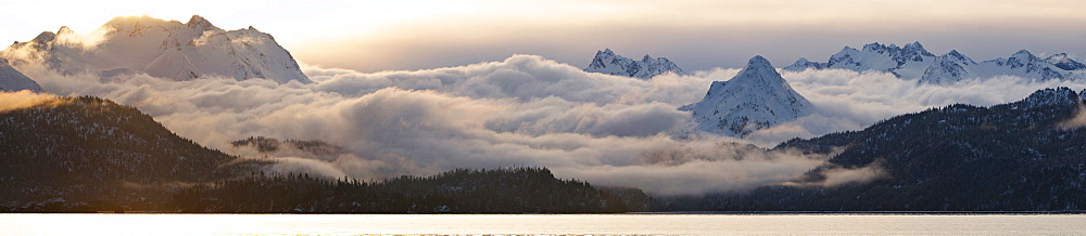 Panoramic shot, sunrise over Kachemak Bay, Kenai Peninsula, Alaska, USA