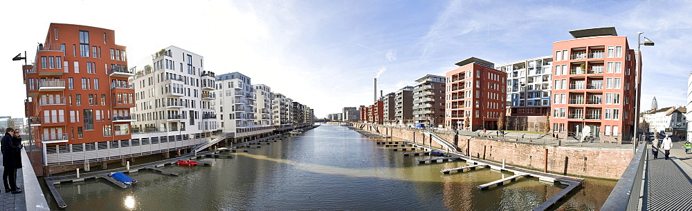 Panoramic view of the Westhafen 6 area, luxury condos with private docking facilities along the Main River in Frankfurt, Hesse, Germany, Europe