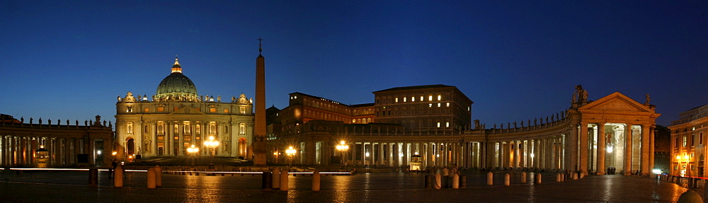 Panorama of the St. Peter's square and the St. Peter's church in Vatican City