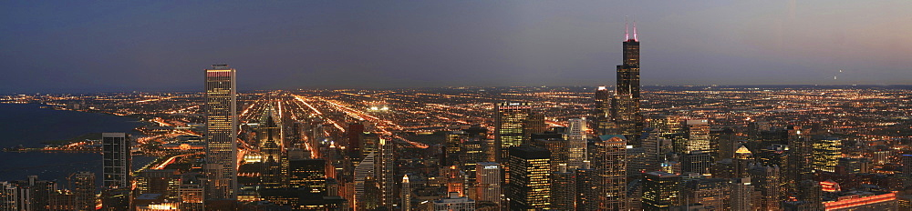 Panorama of the Skyline of downtown Chicago as seen from John Hancock, Illinois, USA