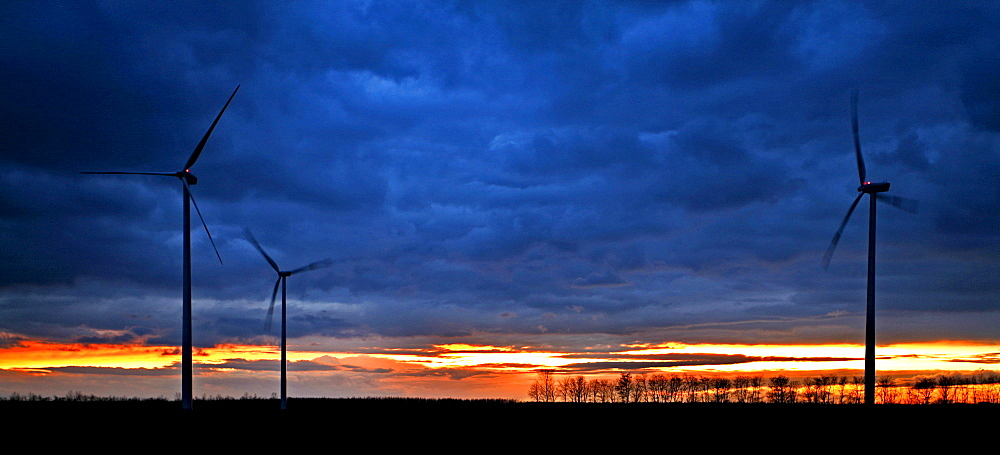 Wind turbines at sunset - 832-349147