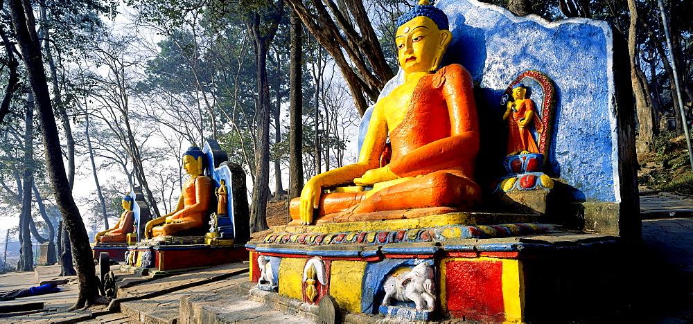 Seat-figures of the Dhyani Buddha Akshobhya, temple Swayambhunath, Kathmandu, Nepal, Asia