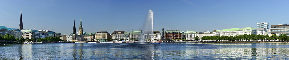 Panoramic view of the Binnenalster, Inner Alster Lake, Hamburg, Germany, Europe