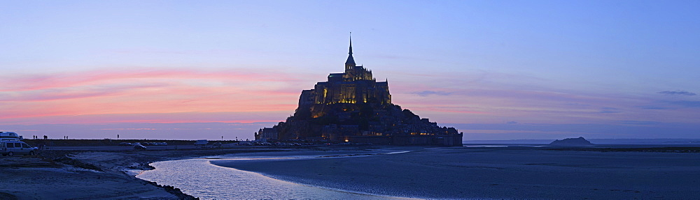 The abbey on top of the rocky island Mont-Saint-Michel seen from the south at sunset, Basse-Normandie, France, Europe