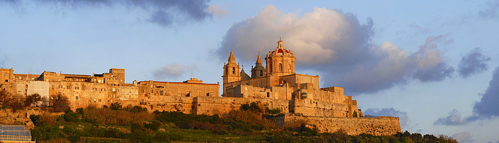 Mdina with the cathedral in morning light, central Malta, Europe